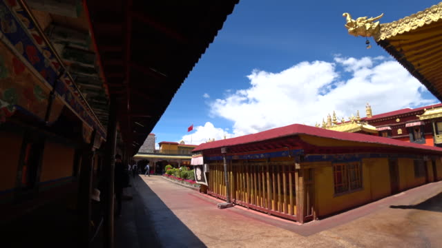 jokhang temple one of the holiest sites of tibetan buddhism and listed on unesco world cultural heritage - pellegrino video stock e b–roll