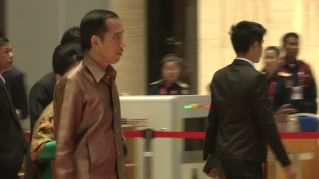 joko widodo arrives for a welcome dinner during the association of southeast asian nations summit the laotian capital vientiane - association of southeast asian nations stock videos & royalty-free footage