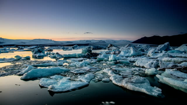 time lapse : jokulsarlon glacier lagoon , iceland - ice floe stock videos & royalty-free footage