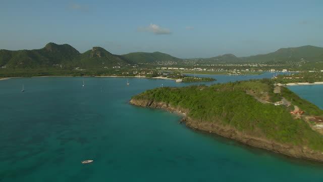 jolly harbour on island of antigua - jolly video stock e b–roll