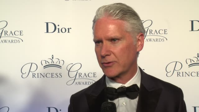 interview jon b turk talks about the importance of supporting emerging artists at the 2016 princess grace awards gala at cipriani 25 broadway on... - cipriani manhattan stock videos & royalty-free footage