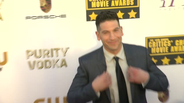 jon bernthal at 19th annual critics' choice movie awards - arrivals at the barker hanger on in santa monica, california. - critics' choice movie awards stock videos & royalty-free footage