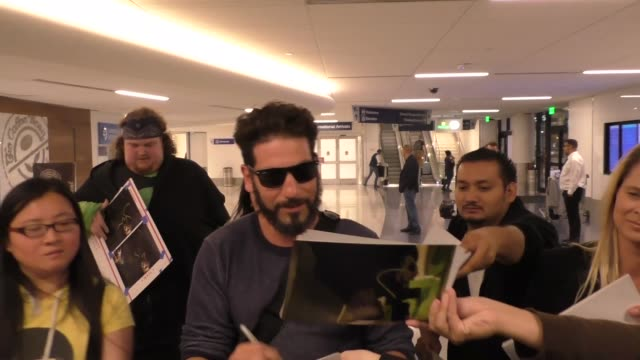 Jon Bernthal greets fans arriving at LAX Airport in Los Angeles in Celebrity Sightings in Los Angeles