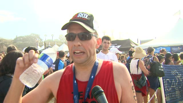 interview jon cryer on doing the triathlon at nautica malibu triathlon presented by equinox on 9/8/13 in malibu ca - jon cryer stock videos and b-roll footage