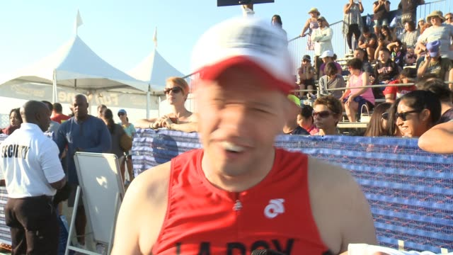 interview jon cryer on doing this event year after year on why he's only doing the run portion this year at nautica malibu triathlon presented by... - jon cryer stock videos and b-roll footage