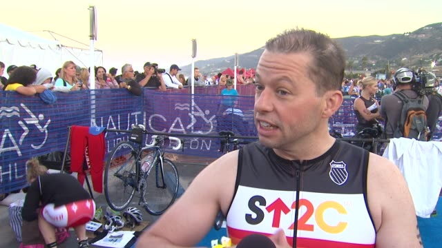 jon cryer on participating and training tips at 26th annual nautica malibu triathlon on 9/16/12 in malibu ca - nautica malibu triathlon stock videos & royalty-free footage