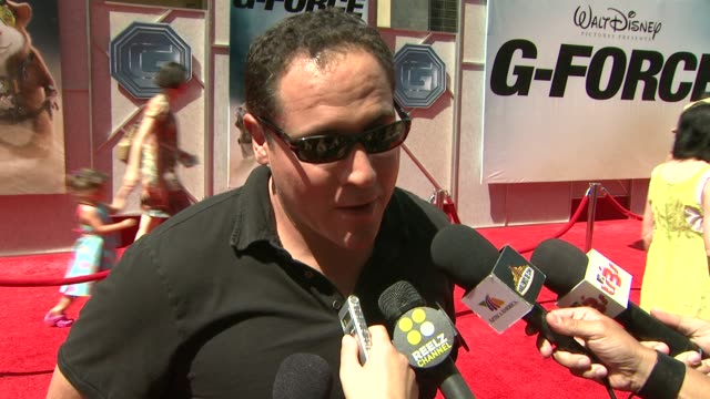 jon favreau on his role, 'iron man 2' at the 'g-force' premiere at hollywood ca. - g force stock videos & royalty-free footage