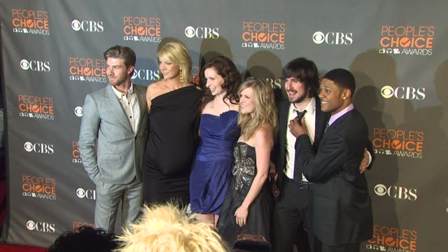jon foster jenna elfman lennon parham ashley jensen nicolas wright and pooch hall at the 36th annual people's choice awards at los angeles ca - jenna elfman stock videos & royalty-free footage