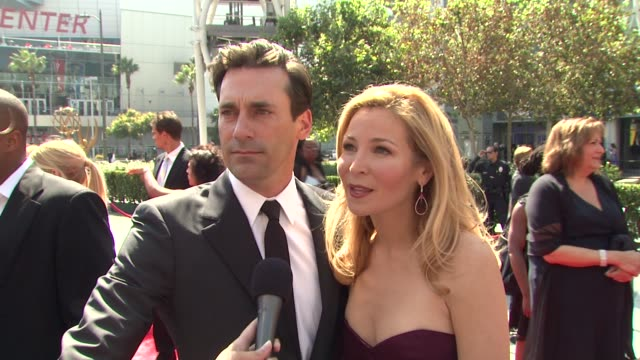 jon hamm and jennifer westfeldt on being nominated for a creative art emmy and on the importance of this award show at the 2009 primetime creative... - jennifer westfeldt stock videos and b-roll footage