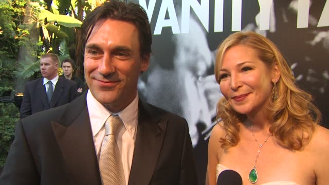 jon hamm and jennifer westfeldt on getting ready for tonight and on who they are rooting for at the 2010 vanity fair oscar party hosted by graydon... - jennifer westfeldt stock videos and b-roll footage