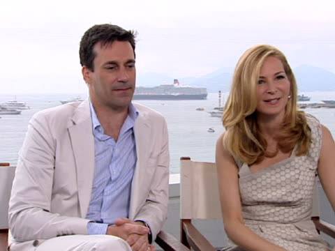 jon hamm and jennifer westfeldt on the theme of the film at the friends with kids interview 64th cannes film festival at cannes - jennifer westfeldt stock videos and b-roll footage