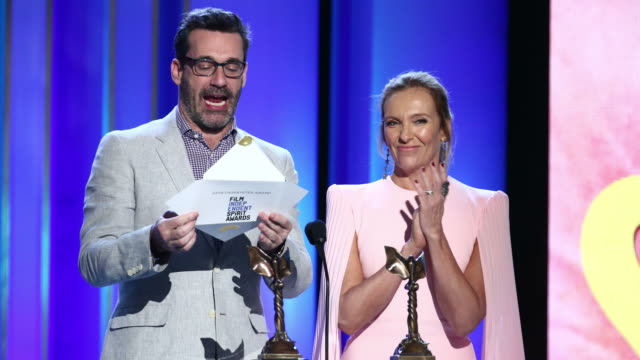 jon hamm and toni collette speak onstage during the 2019 film independent spirit awards on february 23, 2019 in santa monica, california. - toni collette stock videos & royalty-free footage