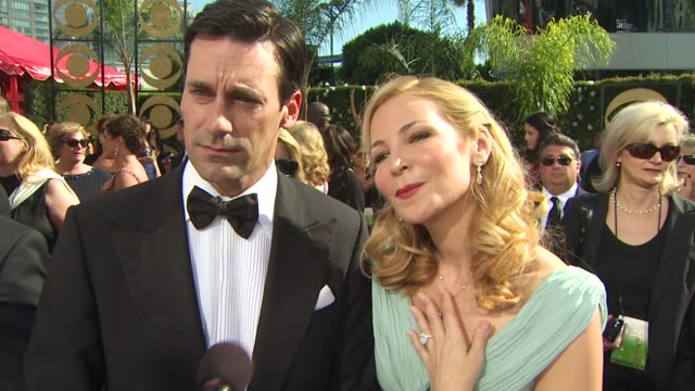 jon hamm on being nominated, experiencing the emmys, what the process was like getting ready with his wife, who they're wearing. at the 61st annual... - annual primetime emmy awards stock videos & royalty-free footage