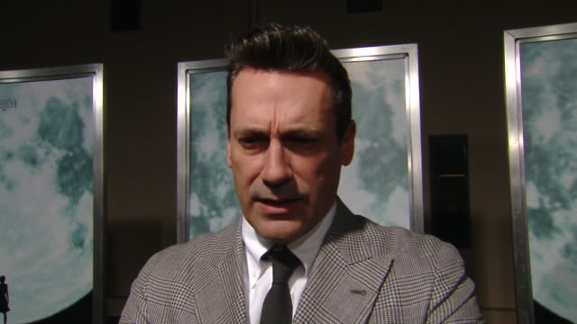 """interview jon hamm on the movie plot and his character at the """"lucy in the sky"""" los angeles premiere presented by fox searchlight pictures in los... - fox searchlight pictures stock videos & royalty-free footage"""