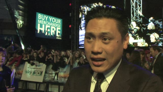jon m. chu on working with justin, the film and more at the justin bieber: never say never premiere at london england. - interview raw footage stock videos & royalty-free footage