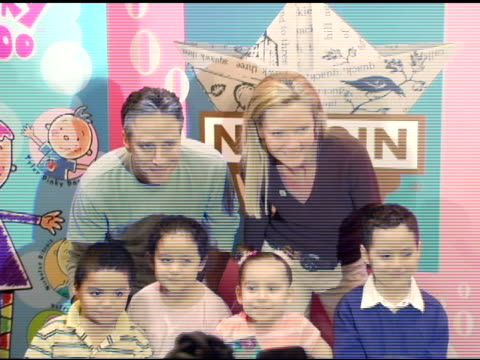 jon stewart joan allen and guests at the new national literacy campaign 'get ready to read' introduced by 'noggin' at barnes noble columbus circle in... - joan allen stock videos and b-roll footage