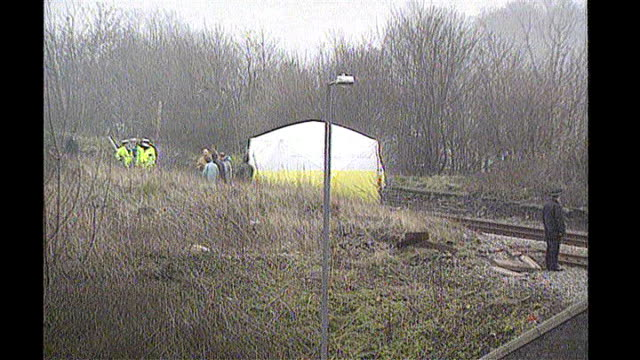 Jon Venables sentenced to two years for child sex offences TX February 1993 Walton EXT Police incident tent on railway line where body of 2yearold...