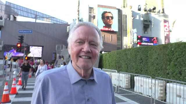 jon voight with james haven discusses the impeachment outside the maleficent: mistress of evil premiere at el capitan theatre in hollywood in... - el capitan theatre stock videos & royalty-free footage