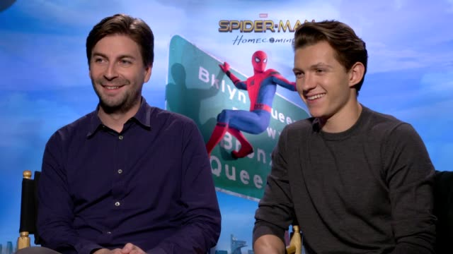interview jon watts tom holland on promoting spiderman the story the villain his character michael keaton at the 'spiderman homecoming' junket on... - schurke stock-videos und b-roll-filmmaterial