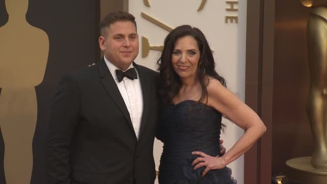 Jonah Hill and Sharon Lyn Chalkin 86th Annual Academy Awards Arrivals at Hollywood Highland Center on March 02 2014 in Hollywood California