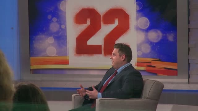Jonah Hill being interviewed on the set of the Good Morning America show in Celebrity Sightings in New York