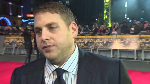 INTERVIEW Jonah Hill on at 'The Wolf of Wall Street' UK film premiere at Odeon Leicester Square on January 9 2014 in London England