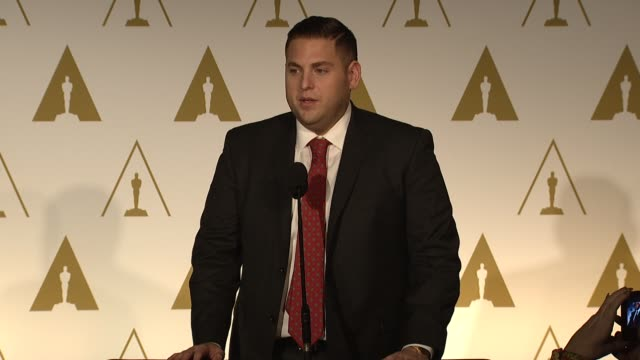 INTERVIEW Jonah Hill on working with Leonardo DiCaprio on his next film on being paid scale at the 86th Academy Awards Nominee Luncheon Reception at...