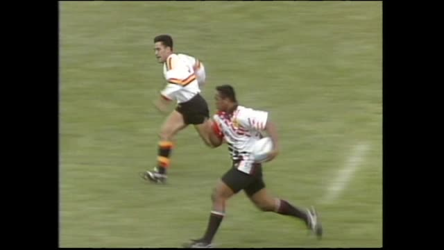 jonah lomu scoring first of his three tries for counties against waikato in the final of the 1994 national rugby sevens at palmerston north - scoring stock videos & royalty-free footage
