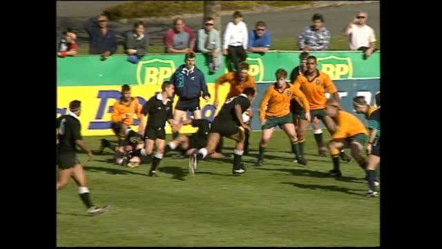 jonah lomu scoring second of his two tries for new zealand secondary schools versus australian schools in 1993 - scoring stock videos & royalty-free footage