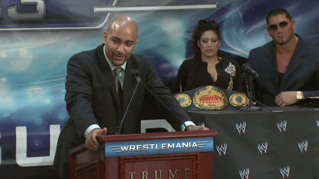 Jonathan 'Coach' Coachman finishes the press conference at the Donald Trump and World Wrestling Entertainment News Conference for WrestleMania 23 at...