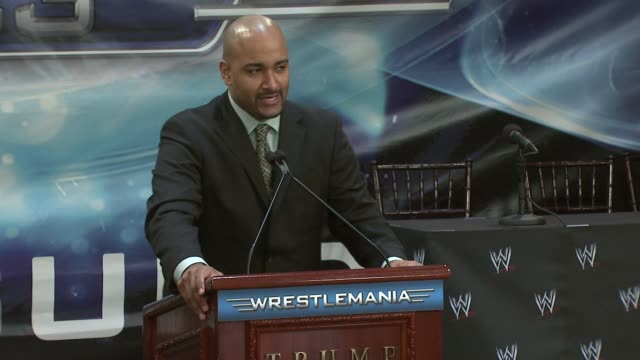 Jonathan 'Coach' Coachman introduces Melina at the Donald Trump and World Wrestling Entertainment News Conference for WrestleMania 23 at Trump Towers...