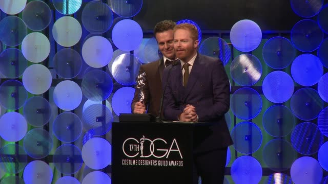 SPEECH Jonathan Groff Jesse Tyler Ferguson at The 17th Costume Designers Guild Awards in Los Angeles CA
