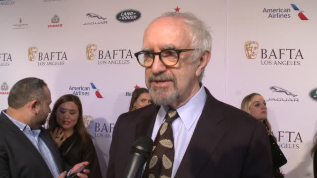 jonathan pryce on why is the bafta tea party such a staple event during golden globes weekend at the 2020 bafta tea party in los angeles, ca 1/4/20 - ジョナサン・プライス点の映像素材/bロール
