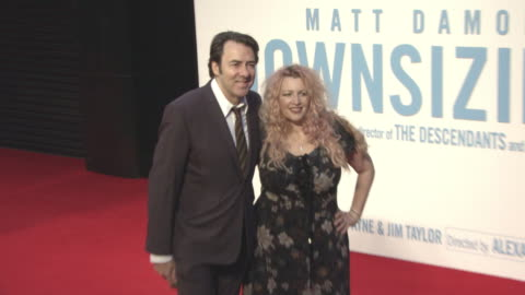 jonathan ross, jane goldman at 'downsizing' uk premiere - 61st bfi london film festival at odeon leicester square on october 13, 2017 in london,... - ジェーン ゴールドマン点の映像素材/bロール