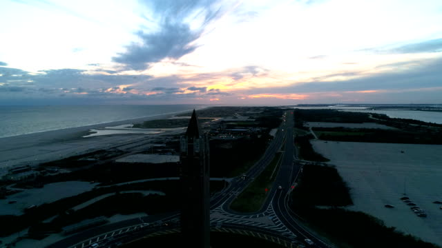 jones beach water tower aerial view - long island video stock e b–roll
