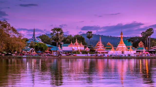 jong kham temple, day to night time lapse. - mae hong son province stock videos and b-roll footage