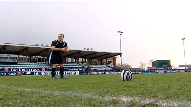 Jonny Wilkinson interview ENGLAND Newcastle Kingston Park EXT Jonny Wilkinson practising penalty kick in training DISSOLVE TO