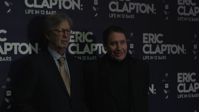jools holland, eric clapton at 'eric clapton: life in 12 bars' uk premiere at bfi southbank on january 10, 2018 in london, england. - jools holland stock-videos und b-roll-filmmaterial