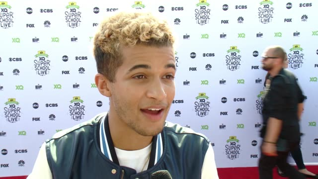 jordan fisher on the event, on why it's important to rethink education, someone who inspired him, something he wished he learned in high school, how... - barker hangar stock-videos und b-roll-filmmaterial