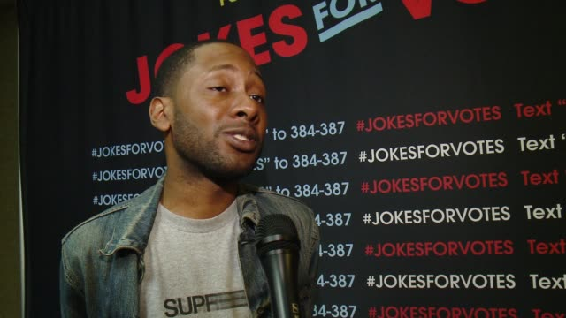 jordan rock on the comedy tour and how easy it is to register to vote at funny or die and nextgen climate's jokes for votes tour closing show at usc... - rock the vote stock-videos und b-roll-filmmaterial