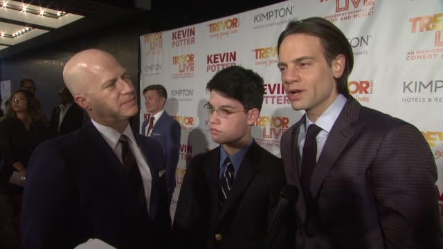 interview jordan roth and richie jackson talk about building and encouraging support networks at the trevor project's trevorlive new york at marriott... - marriott marquis new york stock videos & royalty-free footage