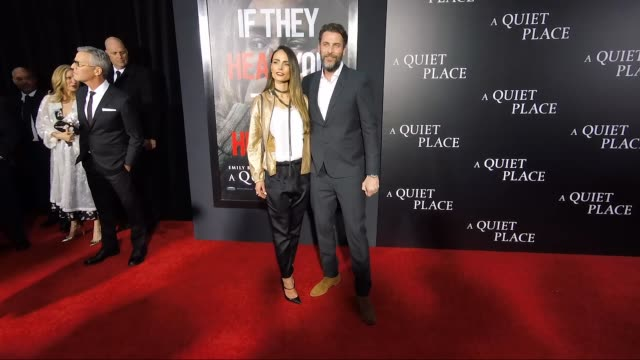 jordana brewster & andrew form at the new york premiere of a quiet place at amc lincoln square theater on april 02, 2018 in new york city. - jordana brewster stock videos & royalty-free footage