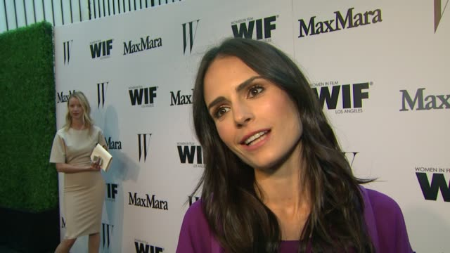 jordana brewster on why it's important to support women in film & what she loves about max mara at the max mara and w magazine cocktail party to... - jordana brewster stock videos & royalty-free footage