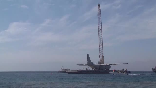 jordanian air force plane was lowered into the gulf of aqaba on thursday in an attempt to create a new coral reef on the sea bed that will provide a... - gulf of aqaba stock videos & royalty-free footage