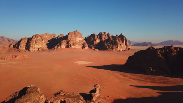 jordanian desert mountain in wadi rum, jordan - riverbed stock videos & royalty-free footage