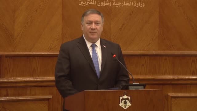 Jordanian Foreign Minister Ayman Safadi and US Secretary of State Mike Pompeo hold a joint press conference in Amman Jordan on April 30 2018