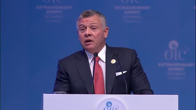 Jordanian King Abdullah II speaks at Extraordinary Session of the Organisation of Islamic Cooperation Islamic Summit Conference in Istanbul Turkey on...