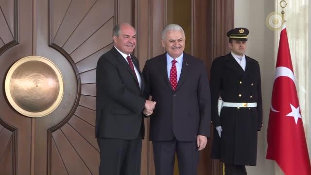 jordanian prime minister hani almulki meets with turkish prime minister binali yildirim at cankaya palace in ankara turkey on march 07 2017 - türkischer premierminister stock-videos und b-roll-filmmaterial