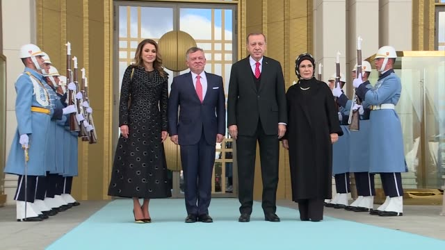 Jordan's King Abdullah II and Queen Rania are welcomed by Turkish President Recep Tayyip Erdogan and First Lady Emine Erdogan with an official...