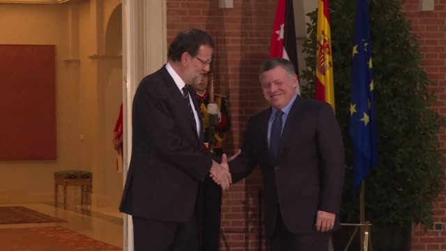 Jordans King Abdullah II meets Spanish Prime Minister Mariano Rajoy as he begins a two day visit to Spain